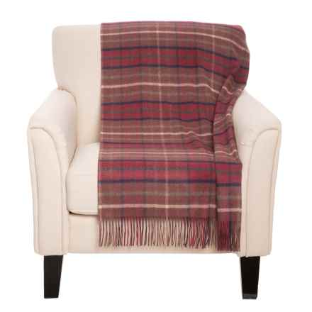 """Johnstons of Elgin Royal Speyside Throw Blanket - Cashmere, 75x55"""" in Burgandy - Closeouts"""