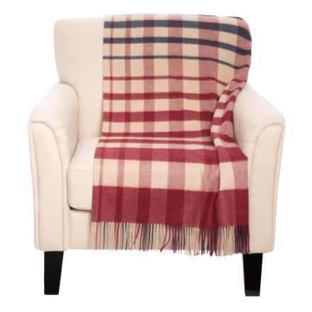 """Johnstons of Elgin Royal Speyside Throw Blanket - Cashmere, 75x55"""" in Red/Navy - Closeouts"""