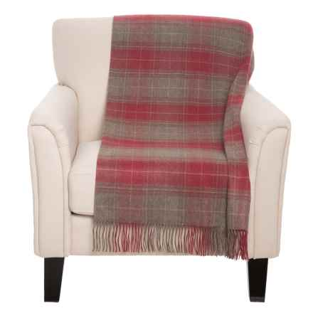 "Johnstons of Elgin Royal Speyside Throw Blanket - Cashmere, 75x55"" in Red/Tan - Closeouts"