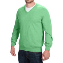 Johnstons of Elgin Scottish Cashmere Sweater - V-Neck (For Men) in Pistachio - Closeouts