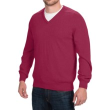 Johnstons of Elgin Scottish Cashmere Sweater - V-Neck (For Men) in Ruby - Closeouts
