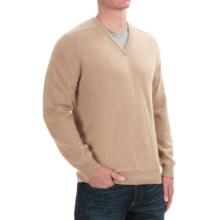 Johnstons of Elgin Scottish Cashmere Sweater - V-Neck (For Men) in Sand - Closeouts