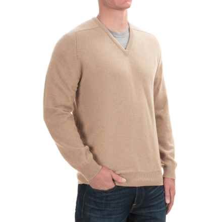 Johnstons of Elgin Scottish Cashmere Sweater - V-Neck (For Men) in Sand - Closeouts