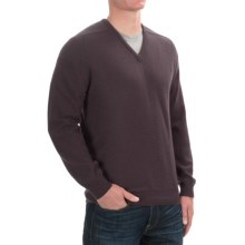 Johnstons of Elgin Scottish Cashmere Sweater - V-Neck (For Men) in Smoke - Closeouts