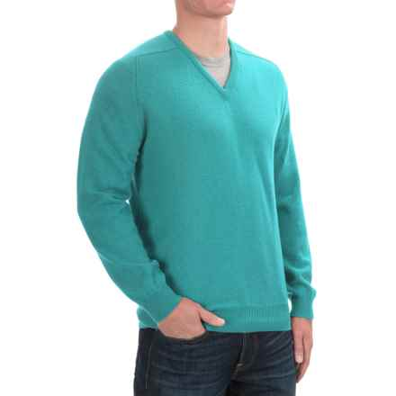 Johnstons of Elgin Scottish Cashmere Sweater - V-Neck (For Men) in Turquoise - Closeouts