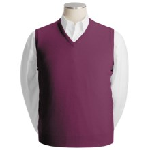 Johnstons of Elgin Scottish Cashmere Vest (For Men) in Cranberry - Closeouts