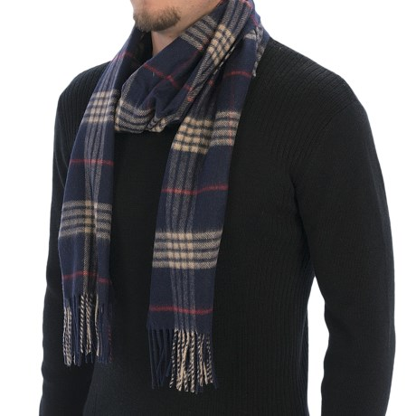 Johnstons of Elgin Shepherd Check Scarf - Cashmere-Merino Wool (For Men) in Navy/Red Overcheck