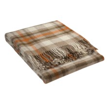 Johnstons of Elgin Shetland Wool Throw Blanket in Brown/Off White/Orange - Closeouts