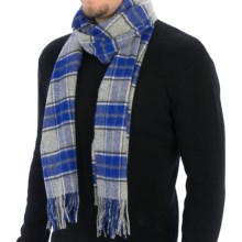Johnstons of Elgin Simple Check Scarf - Wool (For Men and Women) in Blue - Closeouts