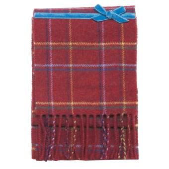 Johnstons of Elgin Skinny Lambswool Scarf - Ribbon (For Men and Women) in Red