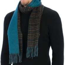 Johnstons of Elgin Small Check Scarf - Cashmere (For Men and Women) in Dark Brown Check/Teal - Closeouts