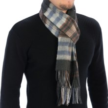 Johnstons of Elgin Sport Check Scarf - Cashmere (For Men and Women) in Dark Brown - Closeouts