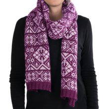 Johnstons of Elgin Tapestry Scarf - Merino Wool-Angora (For Women) in Magenta/Rosebud - Closeouts