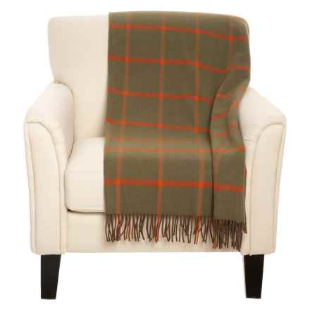 """Johnstons of Elgin The Limited Edition Rug Wool Throw Blanket - 75x55"""" in Brown/Red - Closeouts"""