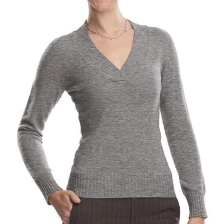 Johnstons of Elgin V-Neck Sweater - Cashmere (For Women) in Flint