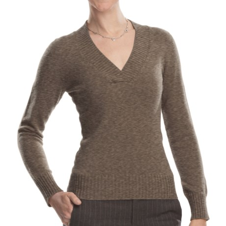Johnstons of Elgin V-Neck Sweater - Cashmere (For Women) in Heath