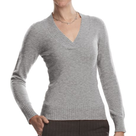 Johnstons of Elgin V-Neck Sweater - Cashmere (For Women) in Silver