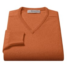 Johnstons of Elgin V-Neck Sweater - Scottish Cashmere (For Men) in Cinnamon - Closeouts