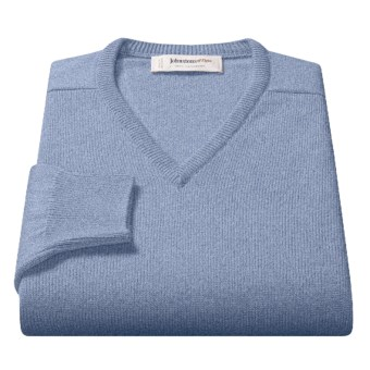 Johnstons of Elgin V-Neck Sweater - Scottish Cashmere (For Men) in Fresco