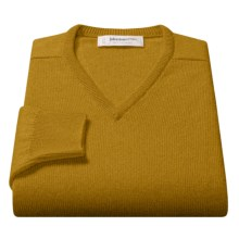 Johnstons of Elgin V-Neck Sweater - Scottish Cashmere (For Men) in Gold - Closeouts