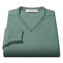 Johnstons of Elgin V-Neck Sweater - Scottish Cashmere (For Men) in Green Mix - Closeouts