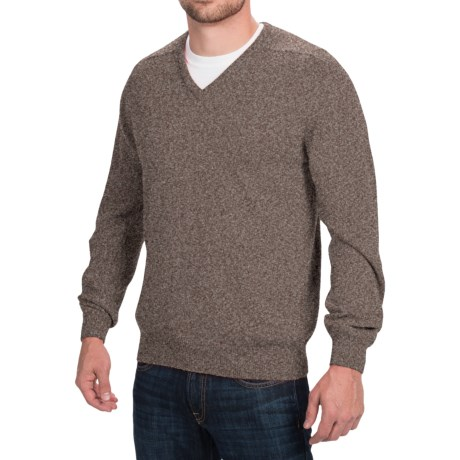 Johnstons of Elgin V-Neck Sweater - Scottish Cashmere (For Men) in Heath