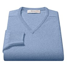 Johnstons of Elgin V-Neck Sweater - Scottish Cashmere (For Men) in Ice Blue - Closeouts