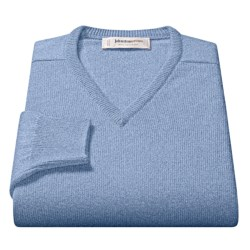 Johnstons of Elgin V-Neck Sweater - Scottish Cashmere (For Men) in Ivory