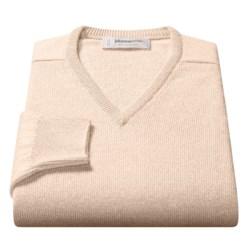 Johnstons of Elgin V-Neck Sweater - Scottish Cashmere (For Men) in Sand
