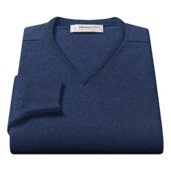 Johnstons of Elgin V-Neck Sweater - Scottish Cashmere (For Men) in Flint