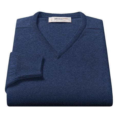 Johnstons of Elgin V-Neck Sweater - Scottish Cashmere (For Men) in Midnight