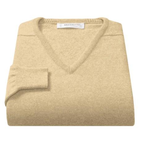 Johnstons of Elgin V-Neck Sweater - Scottish Cashmere (For Men) in Flint