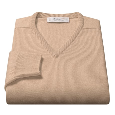 Johnstons of Elgin V-Neck Sweater - Scottish Cashmere (For Men) in Sand
