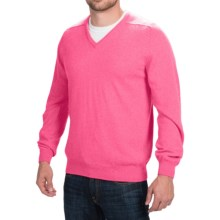 Johnstons of Elgin V-Neck Sweater - Scottish Cashmere (For Men) in Summer Rose - Closeouts