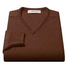 Johnstons of Elgin V-Neck Sweater - Scottish Cashmere (For Men) in Tobacco - Closeouts