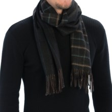 Johnstons of Elgin Windowpane Scarf - Cashmere (For Men and Women) in Dark Brown/Otter/Turquoise - Closeouts