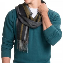 Johnstons of Elgin Woven Cashmere Scarf - Reversible (For Men) in Charcoal/Grey/Yellow Stripe/Herringbone - Closeouts