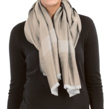 Johnstons of Elgin Woven Scarf - Cashmere-Wool-Silk (For Women) in Cream/White - Closeouts