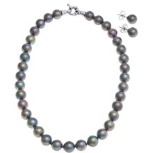 "Joia de Majorca 10mm Organic Pearl 16"" Necklace and Earring Set in Black - Closeouts"