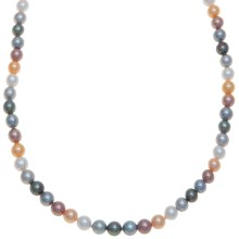 "Joia de Majorca 7mm Organic Pearl Necklace - 18"" in Multi/Rhodium - Closeouts"