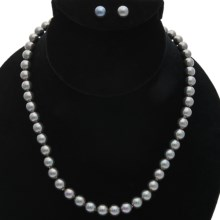 "Joia de Majorca 8mm Organic Pearl 18"" Necklace and Earring Set in Black - Closeouts"