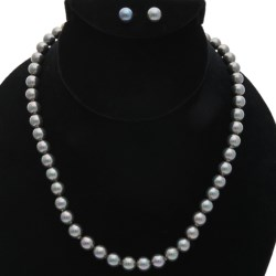 "Joia de Majorca 8mm Organic Pearl 18"" Necklace and Earring Set in Black"