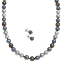 "Joia de Majorca 8mm Organic Pearl 18"" Necklace and Earring Set in Dark Hues - Closeouts"
