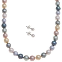 "Joia de Majorca 8mm Organic Pearl 18"" Necklace and Earring Set in Pastel - Closeouts"