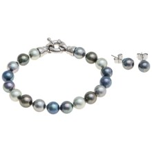 Joia de Majorca 8mm Organic Pearl Bracelet and Earring Set in Dark Hues - Closeouts