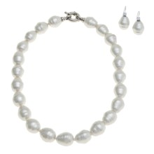 "Joia de Majorca Baroque 14x16mm Organic Pearl 18"" Necklace and Earring Set in White - Closeouts"