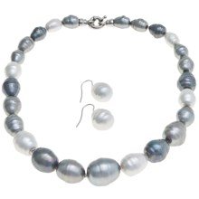 "Joia de Majorca Graduated 18"" Baroque Pearl Necklace and Earring Set in Multi Grey/White/Rhodium - Closeouts"