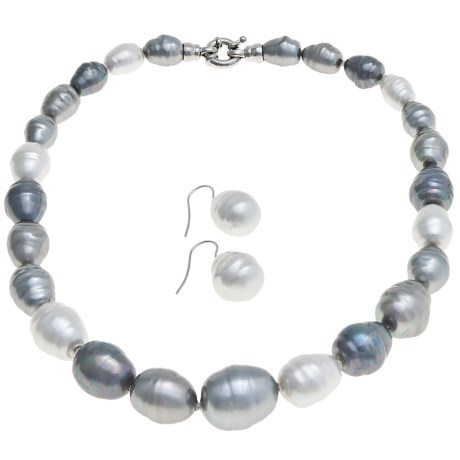 "Joia de Majorca Graduated 18"" Baroque Pearl Necklace and Earring Set in Multi Grey/White/Rhodium"