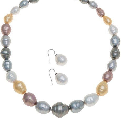 """Joia de Majorca Graduated 18"""" Baroque Pearl Necklace and Earring Set in Multi Hue/White/Rhodium"""