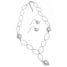 Joia de Majorca Leaf Link Necklace and Earring Set - Baroque Pearls in White - Closeouts